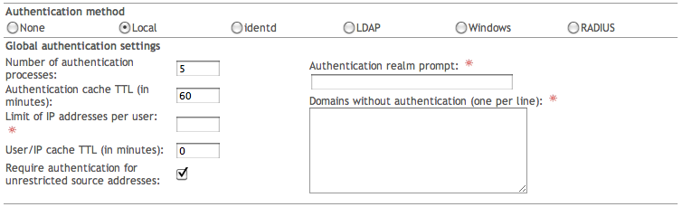 wiki ipfire org - Global authentication settings